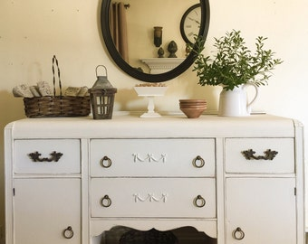 SOLD Vintage 1930's Buffet Hand Painted Annie Sloan Old White Rustic Farmhouse Pick Up Only