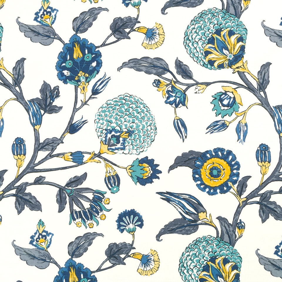 Navy Blue Yellow Floral Upholstery Fabric Custom Navy Blue
