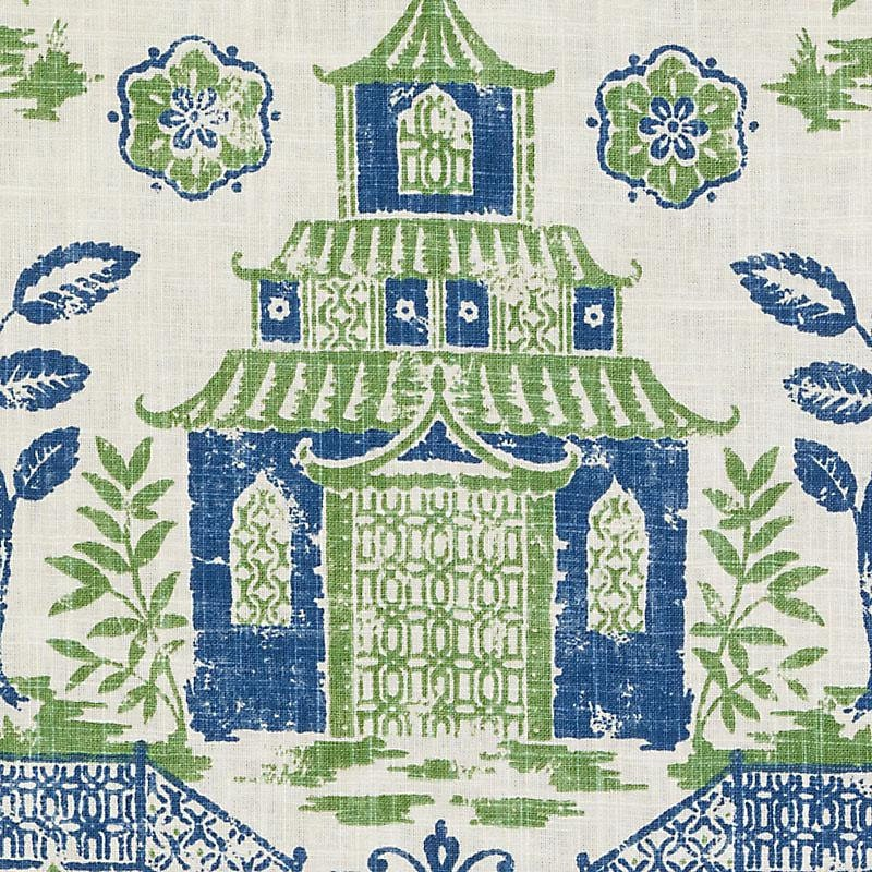 Blue Green Asian Toile Linen Upholstery Fabric Modern Asian