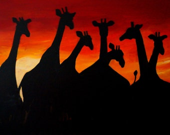 Giraffes at Sunset 18 x 24 Original Painting