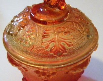25% Off Storewide Sale Amberina Carnival Glass Grapevine Pattern Footed Covered Dish Vintage