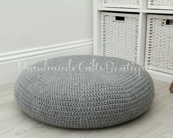 Crochet cover for ALSEDA stool. Light-medium grey. Classic grey. Home furnishing. Floor pillow. Cozy home decor. Cover. Floor cushion.