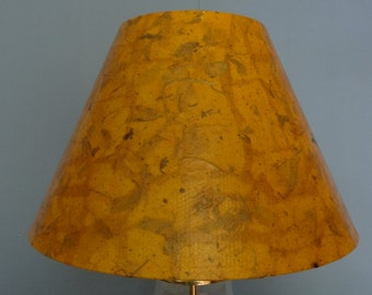 Botanical Lampshade - Medium Decoupage Shade using Handmade Orange/Rust Color Mulberry Paper with Leaf Pieces & Straw