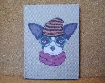 Hipster Boston Terrier, Dog Print Notebook, Fabric Notebook, Lined Journal Bound Notebook