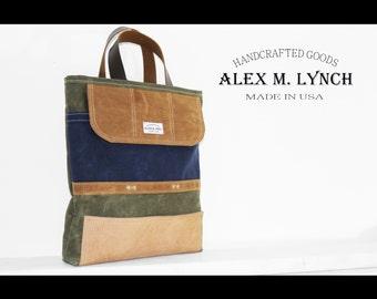 Waxed canvas slim tote bag - laptop bag - military style - handmade