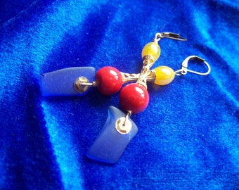 Blue glass earrings, repurposed tumbled glass, Moroccan colors, tumbled glass, Mad Island Artist Spring line 2016, FREE SHIPPING
