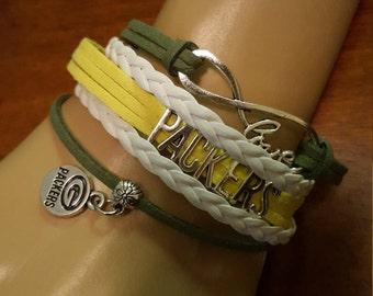 NFL Sports Teams Leather Cord Braided Infinity Love Bracelets