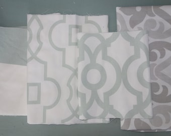 Remnant/Scrap Fabric - Green, grey fabric