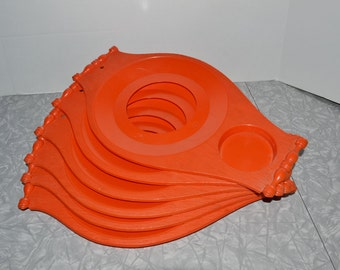 Mid Century Orange Plate & Drink Tray ~ Retro Paper Plate Holder ~ Epsteam