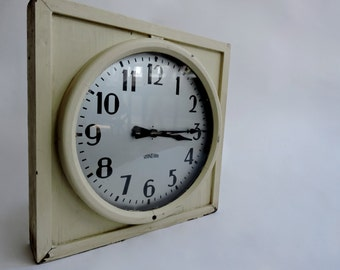 1930's Industrial Schoolhouse Wall Clock by Standard