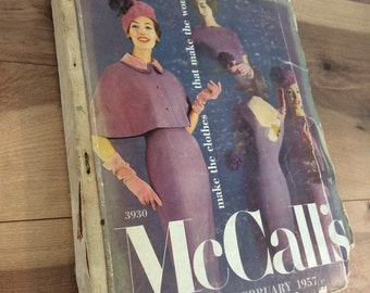 Vintage 1950's McCall's Sewing Pattern Counter Catalog Book - Feburary 1957- Beautiful Fashion Illustration