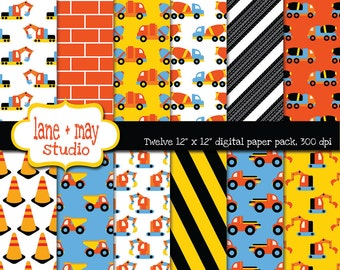 digital scrapbook papers - orange, yellow, blue and black construction vehicle patterns - INSTANT DOWNLOAD