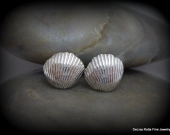 Recycled Silver, Tiny Sea Shells, Earrings, Post Earrings, Gift, Surfer, ine Silver, Sterling Silver