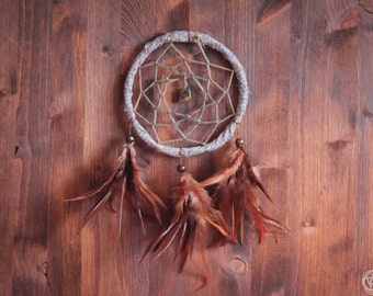 Dream Catcher - In the Woods - With Natural Brown Feathers and Brown Frame - Boho Home Decor, Nursery Mobile