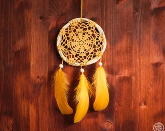 Dreamcatcher - Boho Autumn No.1. - Bohemian Home Decor with Yellow Crochet and Feathers - Natural Nursery Decoration