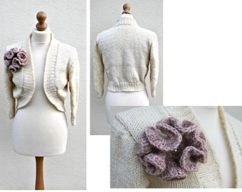 Handmade Knitted Wool Cardigan Organic Unbleached wool Detachable brooch Bridesmaid Jacket Boho Wool Cape Bridal Shrug Bolero Hippie jacket