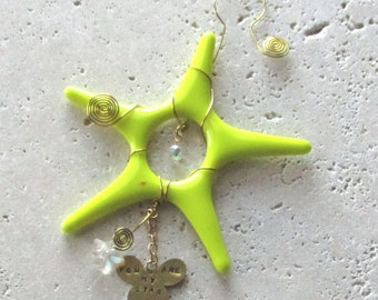 You are My Star - Bright Yellow Fused Glass Star Suncatcher  - Ornament - Christmas Decoration - S1091