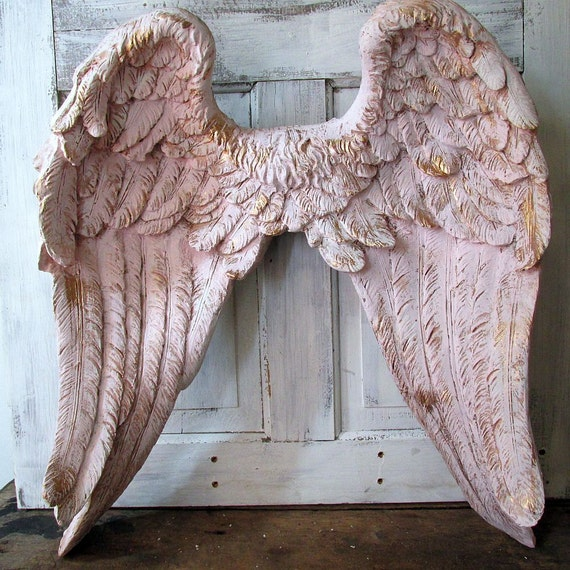 Large Distressed Wall Decor : Distressed angel wings wall hanging large by anitasperodesign