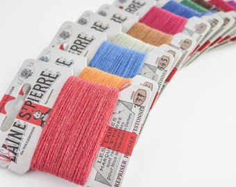 Wool Embroidery Floss | 12 color Laine St. Pierre French Wool Embroidery Thread Set for Hand Embroidery, Darning (Autumn Colors - Asst 4)