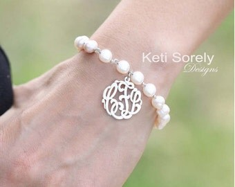 White Pearl Bracelet with Monogram Initials Charm - (Order Your Initials)- Freshwater Pearls - Sterling Silver, Yellow Gold or Rose Gold
