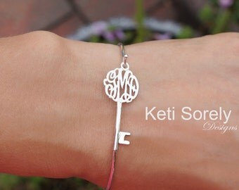 Sideways Key Bracelet with Monogram Initials - Stackable Monogram Bangle - Key Bangle in Silver, Yellow or Rose Gold Overlay