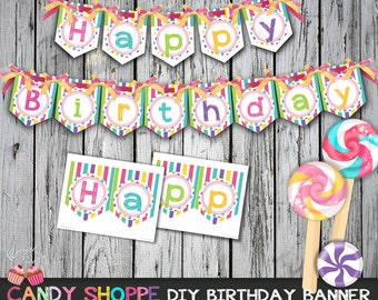 Sweet Candy Shoppe Happy Birthday Banner
