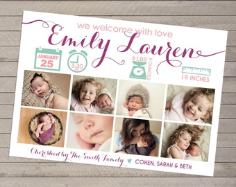 Print-yourself Girl's Photo Birth Announcement - or Boy, Multiple Photo -Eight Photo