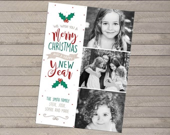 Three Photo Christmas Holiday Card