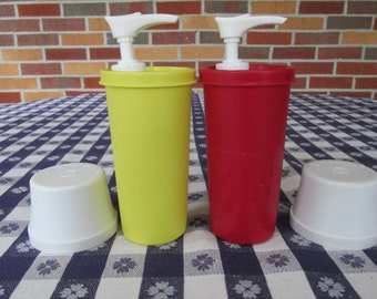Vintage Tupperware Ketchup and Mustard Dispensers