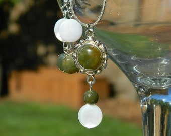 Shoreline Jewelry Set ~ Land and Sea, Jasper, Green, Mother of Pearl, Seashell, Gemstone, Silver