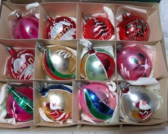 Vintage Glass Christmas Ornaments, Poland Ornaments, Santa Teardrop Ornament