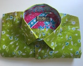 Mens shirt green blue flower print on lime green base separate detailing inside collar. Short sleeves. VERY light weight  100% cotton