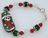 WHIMSICAL MRS. SANTA:  Artist Lampwork Glass Bracelet Christmas Red And Green