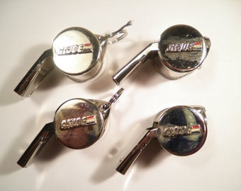 4 Vintage Silverplated G.I. Joe Hasbro Whistles
