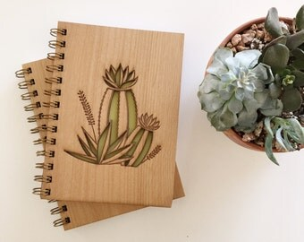Cactus Bloom Botanical Lasercut Wood Journal