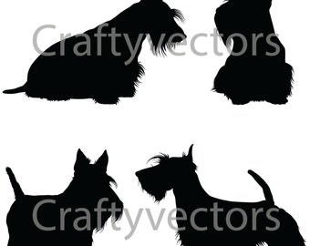 Scottish Terrier Dog SVG Silhouettes