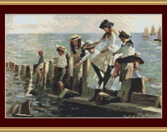The Young Anglers Cross Stitch Pattern
