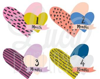 Monthly Baby Girl Sticker- Little Heartbreaker (Cut out) - Months 1-12