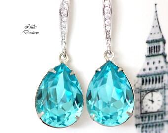 Teal Blue Earrings Swarovski Crystal Earrings Light Turquoise Earrings Bridal Earrings Teardrop Earring Bridesmaid Gift Turquoise Blue TQ31H