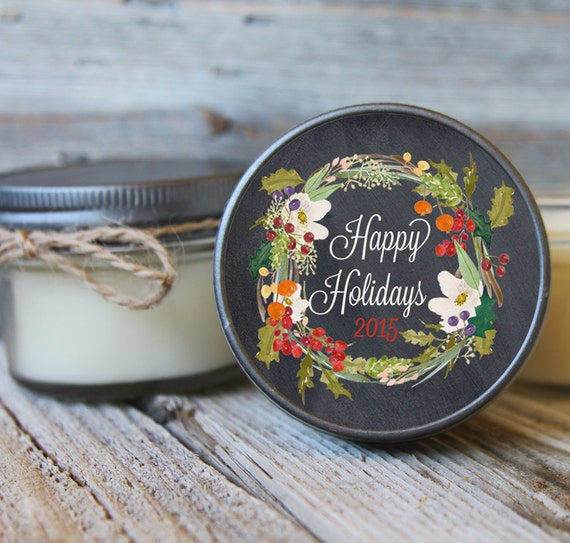 12 - 4 oz Hostess Gift//Holiday Wreath Label//Soy Candle Favor//Personalized Favor//Party Favor//Hostess Gift