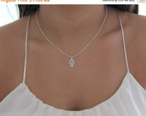 SUMMER SALE - silver hamsa necklace,hamsa jewelry,good luck charm,charm necklace,lucky necklace,delicate necklace