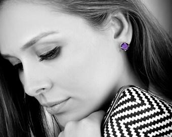 SUMMER SALE - Amethyst earrings,Purple earrings,February birthstone earrings,sisters earrings,bridal earrings,bridesmaid earrings