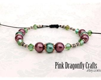 Brown and Green Glass Pearl Adjustable Macramé Bracelet - BR7