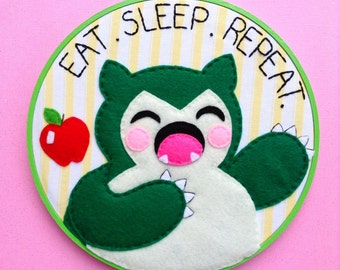 Pokémon Snorlax Embroidery Hoop--8 inches