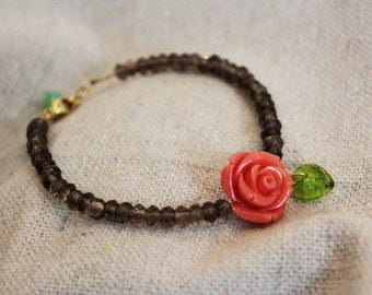 Rosalee Bracelet: smoky quartz with coral rose and 14kt gold filled accents