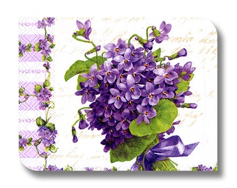 Floral paper napkin for decoupage, mixed media, collage, scrapbooking x 1. Country Violet. No 1263