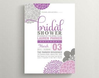 Printable Bridal Shower Invitation \ Floral Invitation \  Purple and Grey Invite (BR138)