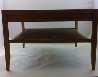 Mid Century Coffee Table Meridian by Drexel/ Cane /Rattan / Walnut / Solid Wood/