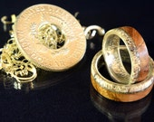 A pair of silver half dollar ring with whisky barrel Oak wood and deer antler