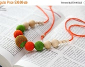 SALE 25% off Summer Fashion Teething Necklace - Nursing mom necklace - crochet sling necklace - orange green